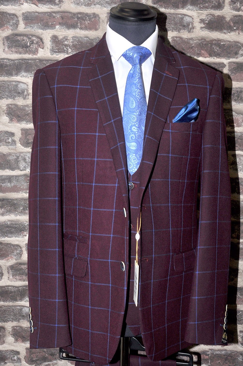 Burgundy Check Suit