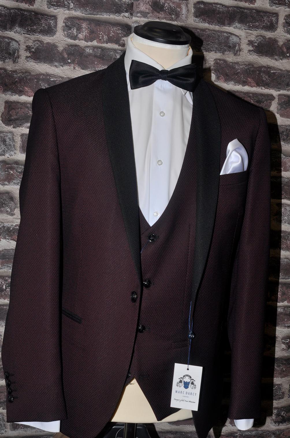 Burgundy Textured Shawl Lapel Tuxedo
