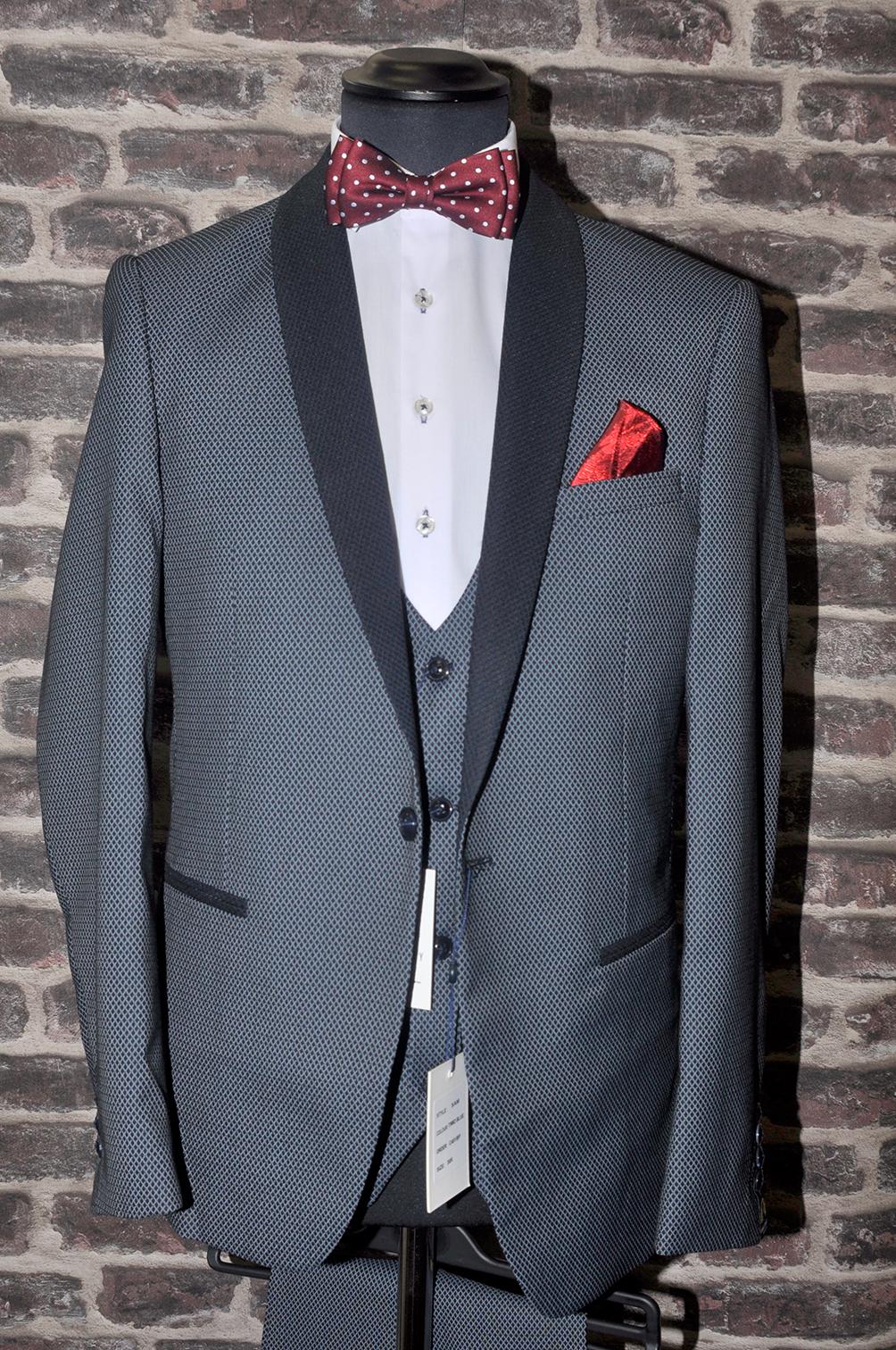 Grey Textured Shawl Lapel Tuxedo